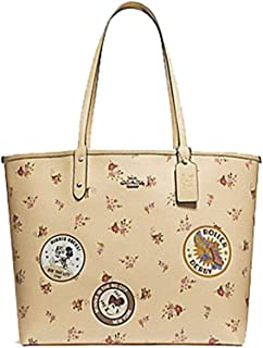REVERSIBLE CITY ZIP TOTE WITH FLORAL MIX PRINT AND MINNIE MOUSE PATCHES F29359, VANILLA MULTI/SILVER
