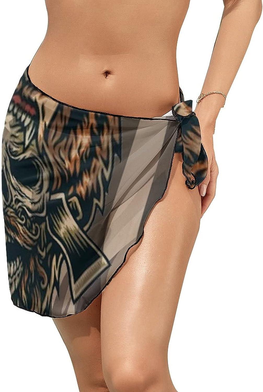 JINJUELS Women's Beach Sarongs Bikini Cover Ups Bear Skull Flag Sheer Swimwear Short Skirt