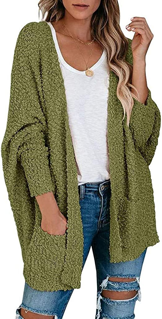 Gibobby Sweaters for Women,Women Open Front Knitted Oversized Cardigan Long Batwing Sleeve Sweater Outwear with Pockets