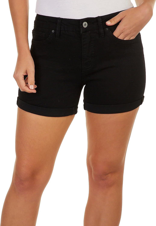 YMI Royalty Petite Curvy Fit Recycled Denim Shorts 6P Black