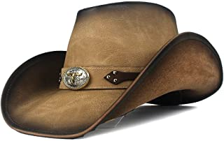 QinMei Zhou Retro Scorpion 100% Leather Band Women Men Wool Wide Brim Cowboy Western Hat Cowgirl Bowler Feadora Cap