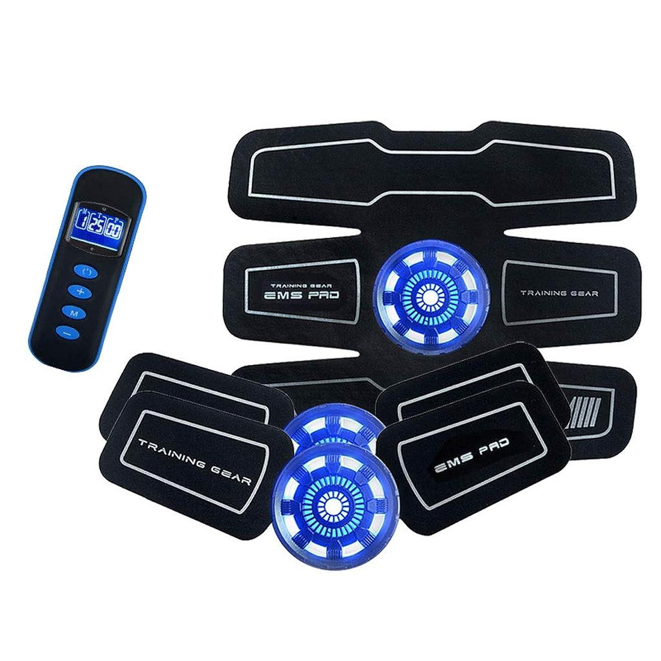 スムーズに受け入れ渇き腹筋トレーナーフィットネストレーニングギア、リモコン付きEMS筋肉刺激装置 - USB充電式究極腹部刺激装置 - ポータブル筋肉トナー
