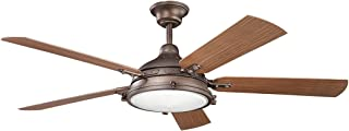 Indoor Ceiling Fans 4 Light with Weathered Copper Powder Coat Finish Candelabra Bulb 60 inch 160 Watts