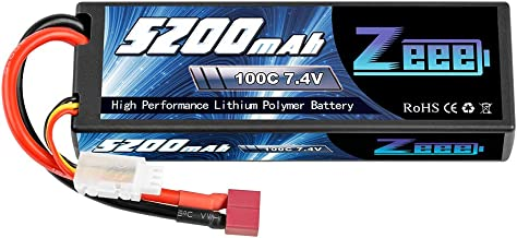 Zeee 7.4V 100C 5200mAh 2S Lipo Battery with Deans T Connector for RC Car Truck Vehicle Buggy Losi Traxxas Slash(1 Pack)