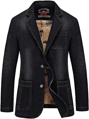 CAI&HONG-GUO GCH Suit Veste en Jean pour Hommes Occasionnels