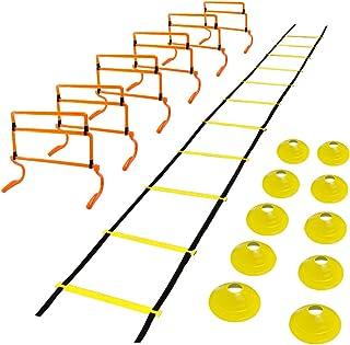 瞬発力トレーニング アジリティー ラダー(6m) ミニハードル(6個) マーカーコーン(10個) 持ち運びに便利な収納バッグ付き