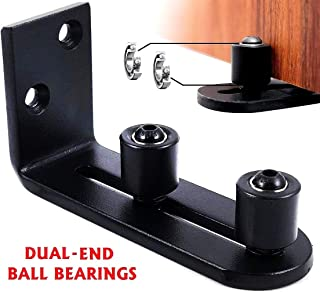 Floradis Large Stay Roller Floor Guide for Bottom of Sliding Barn Doors. Lay-Flat System. Totally Flush to Floor. Ultra Smooth Fully Adjustable Wall Mount Guides. Ball Bearings Wheels (Black)