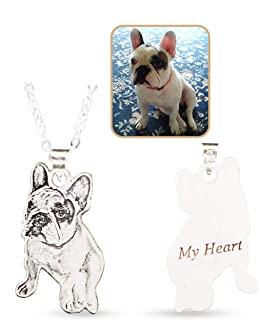 Personalized Pet/Cat/Dog Photo Necklace 925 Sterling Silver Pendant Chain Custom Picture Necklaces Handmade Gift for Women/Girls/Wife/Mother