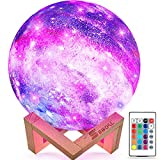SEGOAL Moon Lamp Kids Night Light, 5.9 Inch Galaxy Lamp 16 Colors LED 3D Star Moon Light with Wood Stand, Touch & Remote Control & USB Rechargeable, Birthday Gift for Baby, Children, Girls, Boys
