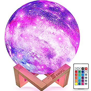 SEGOAL Moon Lamp Kids Night Light 5.9 Inch Galaxy Lamp 16 Colors LED 3D Star Moon Light with Wood Stand Touch & Remote Control & USB Rechargeable Birthday Gift for Baby Children Girls Boys