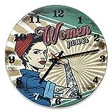 Reloj de pared vintage de MDF, diámetro 30 cm, con reproducción de impresión retro Women Power para decorar la casa de forma original, ideal para todos los ambientes de la casa.