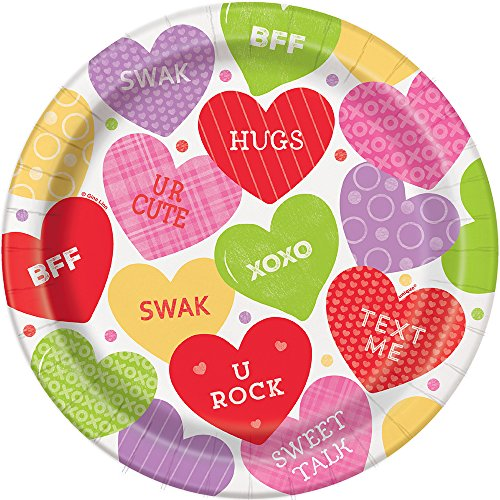 Unique Valentine Candy Heart Dinner Plates, 8ct, 9', Multi