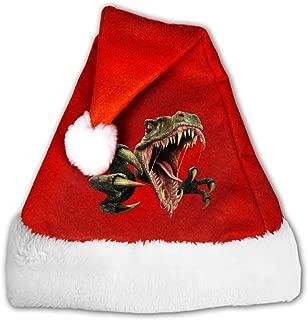 Dinosaur Scary Raptor Adults Classic Velvet Christmas Hats for New Year Santa Xmas Party