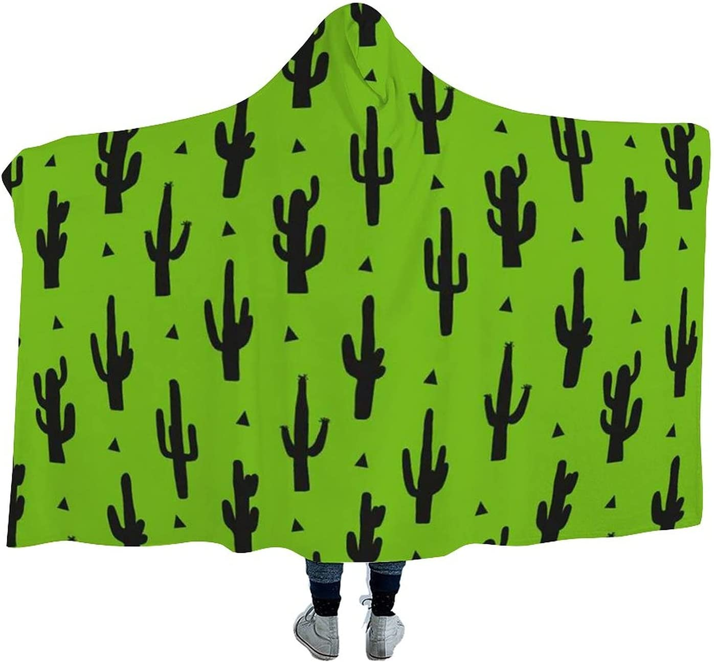 Cactus Pattern New product!! Wearable Hooded Blanket Soft Cloak Over item handling Watch Tv for S