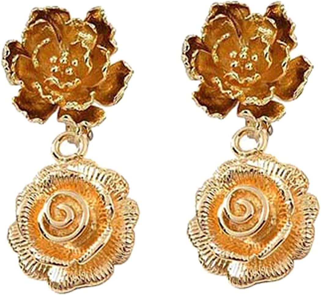 Dainty Flower Head Clip on Earrings Large Daisy Floral Dangle Drop for Women Girls Costume Jewelry Gold Plated Hypoallergenic and Nickel Free Non Pierced Ears Screw Back Design Birthday Gifts