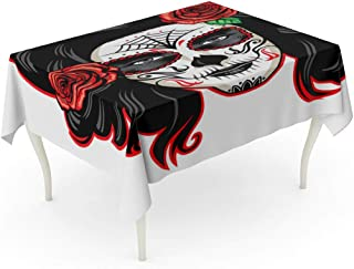 Tarolo Rectangle Tablecloth 60 x 90 Inch Red Voodoo Girl Sugar Skull Makeup Face Woman Tattoo Hair Female Table Cloth