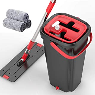 Smart flat mop bucket with home kitchen floor cleaning - Microfiber mop system with bucket and a mopable mop pad - Dry or wet floor mop kit with self-cleaning system YZPXZTB (color : Red)