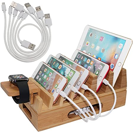 Bamboo Charging Station Organizer for Multiple Devices & Wood Desktop Docking Charging Stand Such As Cell Phone, Tablets, Phone Case and Watch Stand - Pezin & Hulin(No USB Charger)