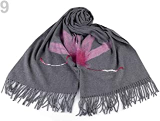 1pc 9 Grey Scarf with Fringes and Felt Flower 70x180cm, Winter Shawls Snoods, Shawls, Scarves &, Fashion Accessories