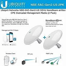 NanoBeam AC Gen2 NBE-5AC-Gen2-US 5GHz airMAX CPE with Dedicated Management Radio Bridge (2 Pack)