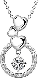 Cutesmile Fashion Jewelry 925 Sterling Silver Three Love Heart Circle with Dancing CZ Crystal Pendant Necklace