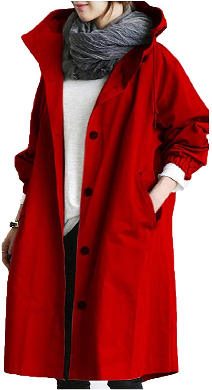 iQKA Women's Rain Jacket Autumn Winter Loose Hooded Trench Jackets Oversized Elegant Windbreaker Comfortable Coat Outwear