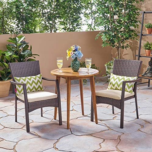 Christopher Knight Home Arezzo Outdoor 3 Piece Wood and Wicker Bistro Set by Teak Finish + Brown + crème Cushion