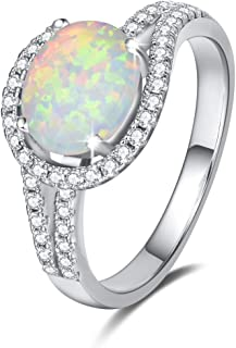 Sterling Silver Fire Opal Statement Ring Halo Oval Opal Cubic Zirconia CZ Stimulated Diamonds Band Ring October Birthstone Fine Jewelry for Women Size 5,6,7,8