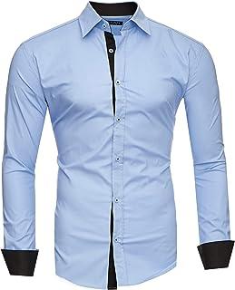 Kayhan Camisas Hombres Camisa Hombre Manga Larga Ropa Camisas de Vestir Slim fácil de Hierro Fit S M L XL XXL-6XL - Modell...