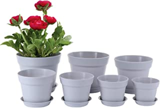 Genenic Plastic Planters,Flower Pots,7 Packs 7.5/6.9/6.2/5.4/4.9/4.5/3.9Inch,with Drainage Hole and Tray,Modern Round,for ...