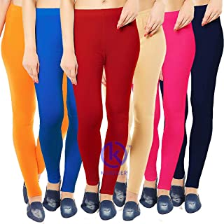 4ee8cc84b020e Klugger Women's Cotton Lycra Ankle Length Legging Combo Pack of 6  (Multicolour, Free Size