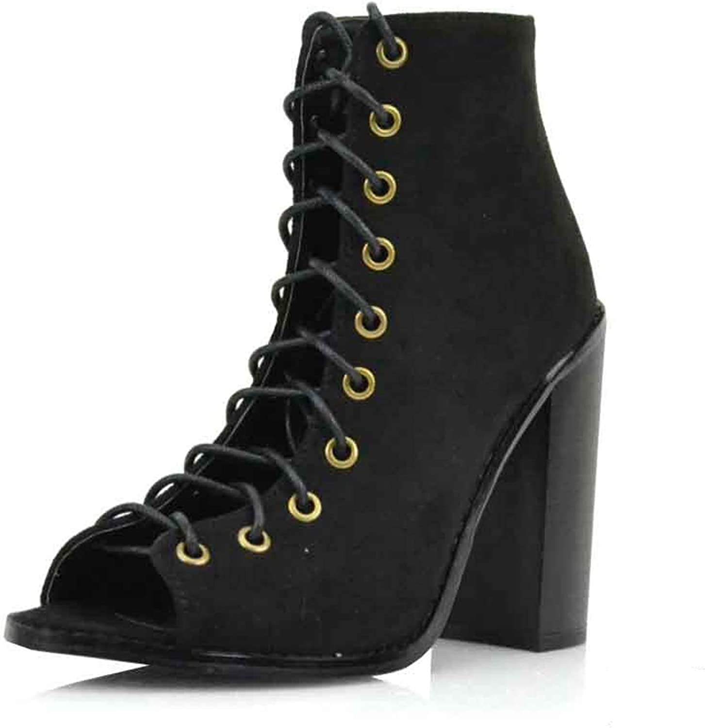 Olivia and Jaymes Women's Open Toe Lace Up Ankle Booties Back Zipper Block Chunky Heel shoes Boots