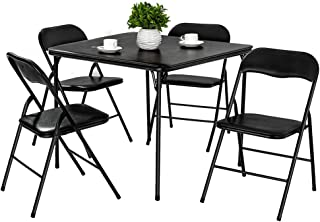 AMERLIFE Folding Table and Chairs 5-Piece Padded Seat, Square Card Table and Chairs Set with Locking Legs, Multipurpose Dining Game Table Portable and Easy for Compact Storage Black