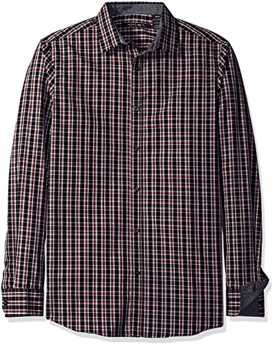 AXIST Men's Long Sleeve Slim Fit Perfect Square Plaid Woven Shirt, Red Dahlia, X-Large
