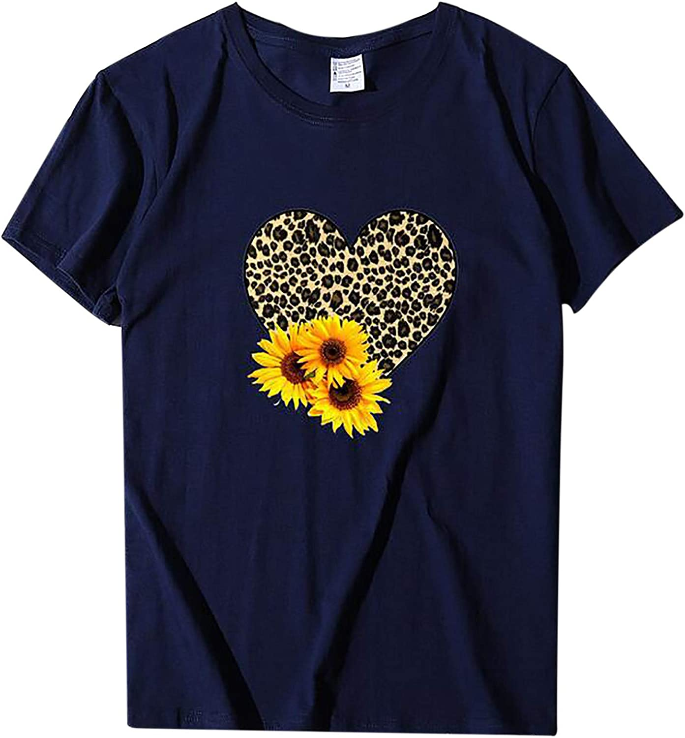 Womens Tshirts Graphic,Valentine's Day Shirt for Womens Cute Gnomes T-Shirt Love Heart Printed Shirts Short Sleeve Graphic Tees Tops Navy