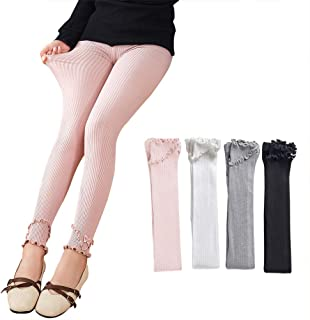 Ehdching 3 Pack CableKnit Footless Ruffle Tights Leggings Stocking Pants for Baby Toddler Kids Girls(3-12years)