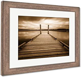 Ashley Framed Prints Comox Lake Vancouver Island, Wall Art Home Decoration, Sepia, 26x30 (Frame Size), Rustic Barn Wood Frame, AG5988163