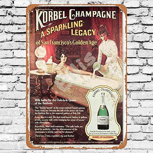 Ellis 1979 Korbel Champagner Vintage Retro Metall Blechschild Wanddekoration für Geschäfte, Mann Höhle Bar Haus Garage