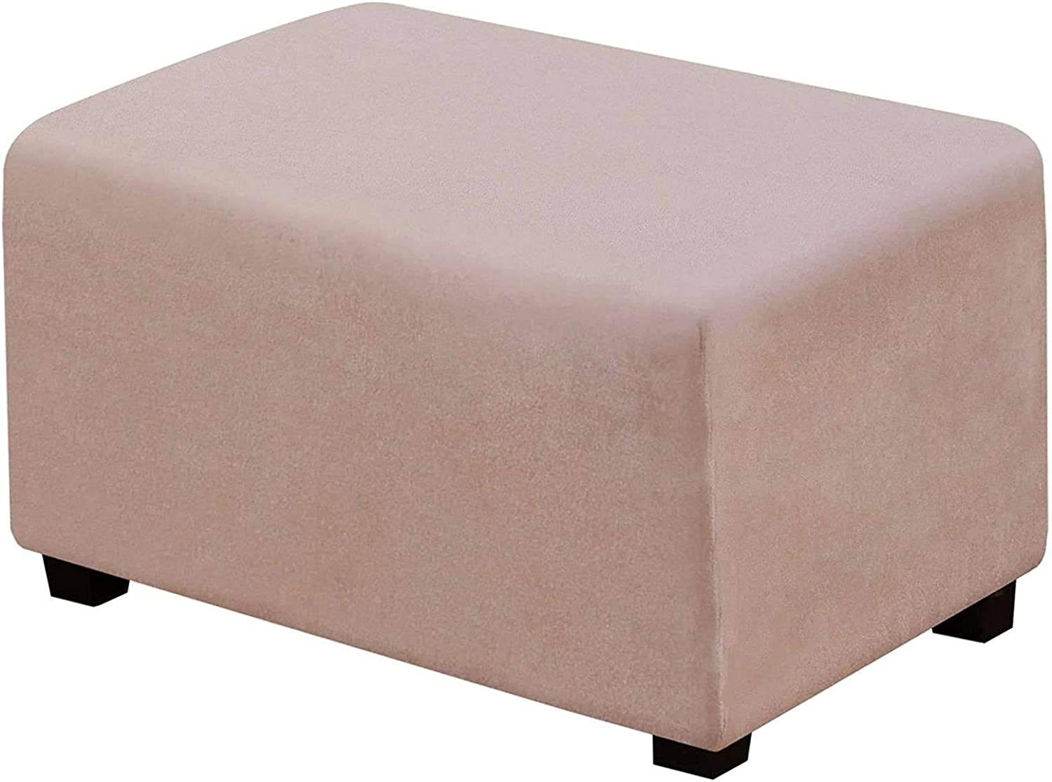 Ottoman Slipcovers Silver Fox Velvet Rectangle Stretch Footstool Protector Cover