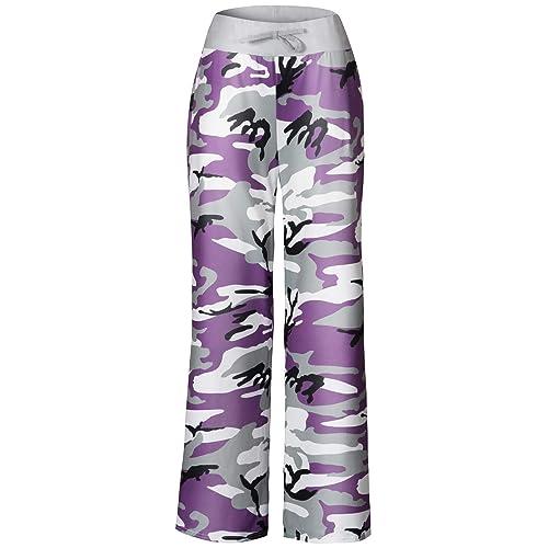 111ab8fbdd37 Anyou Women s Pajama Pants Comfy Stretch Floral Print Drawstring Wide Leg  Lounge Pants Size S-