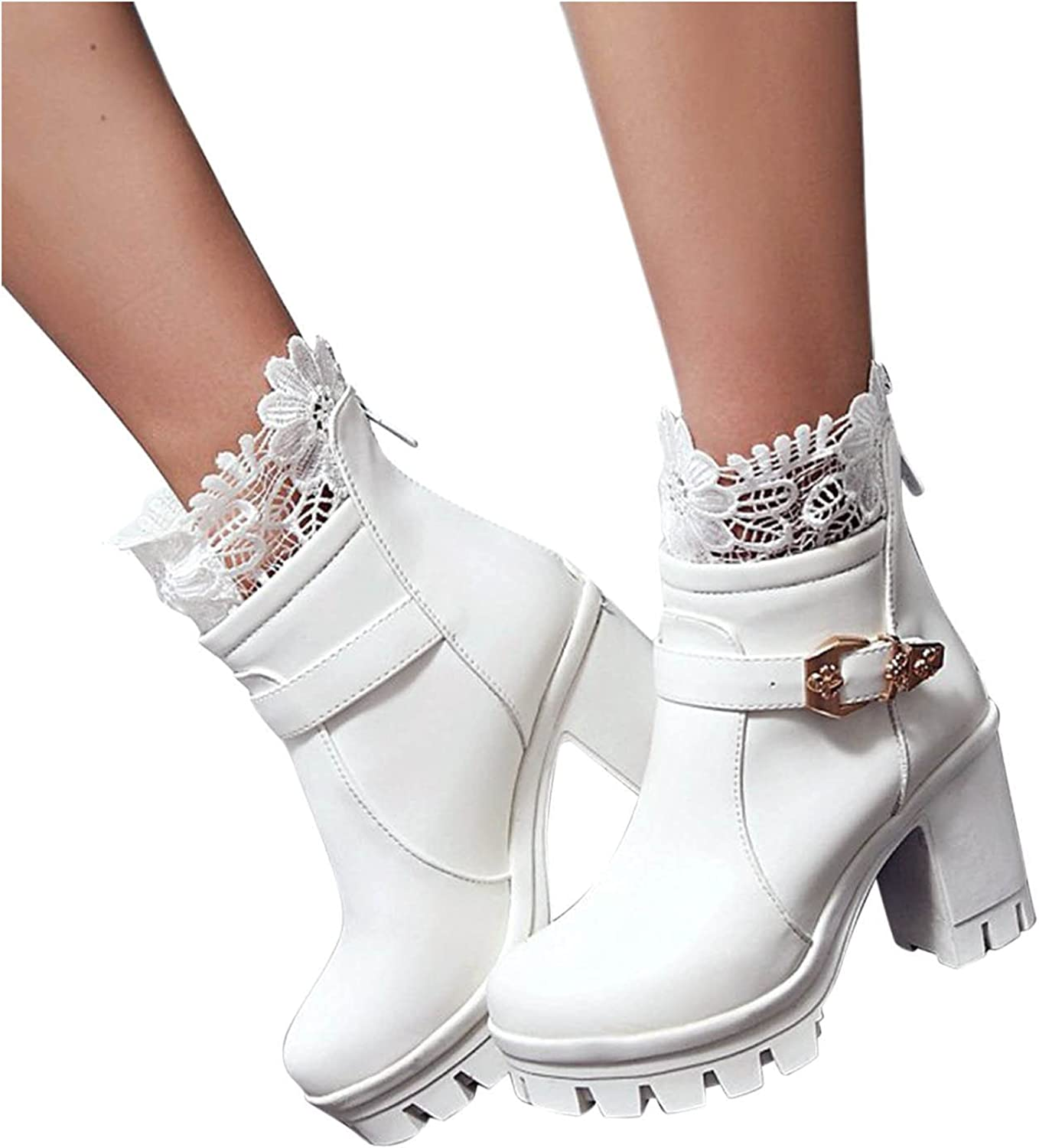 Boots for Women with Washington Mall Heel Platform Lace Booties Selling and selling Zipp Ankle