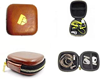 DIGITAL Funda Premium Leather Multi-Purpose Small Case for Earphones, Pen Drives, SD Memory Cards, Keys, Coins, Jewellery & Accessories, USB dongles [SEMI-Rigid Shock Proof Protection] … (Brown)