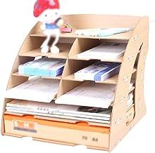 Magazine Racks Document Bill Combination Rack, Stepped Office Finishing Box, Multi-function Storage Box, Invoice Rack, Woo...