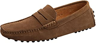 Jamron Hombres Cuero de Gamuza Penny Mocasines Comodidad Zapatos de Conducir Plano Pantuflas