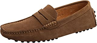 rismart Men's Classic Original Suede Leather Penny Loafers Comfort Driving Shoes Slip-on Flats Moccasin Slippers