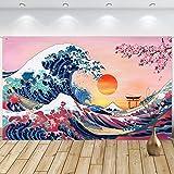 Banner Foto di Onde Oceaniche da Appendere a Parete Sfondo Kanagawa Giapponese Sfondo di Fiori di Ciliegio di Onda Grande Natura per Feste Giapponesi Parete Casa, 72,8 x 43,3 Pollici