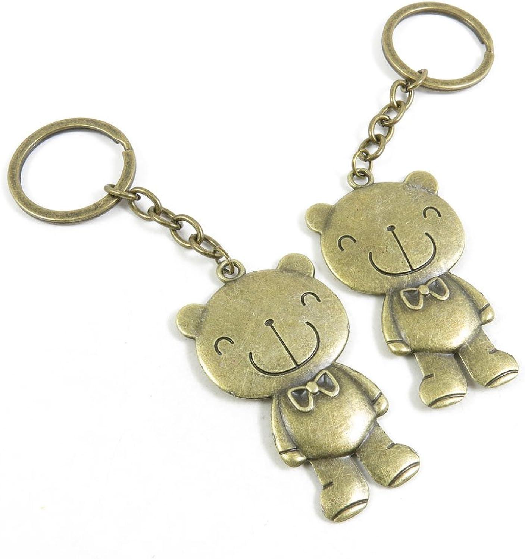 50 Pieces Fashion Jewelry Keyring Keychain Door Car Key Tag Ring Chain Supplier Supply Wholesale Bulk Lots H1CW8 Bear Winne
