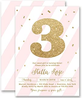 Girls 3rd Birthday Invitations Blush Pink Striped Gold Glitter Look Any Age Personalized Boutique Invites with Envelopes- Stella style