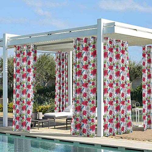 ParadiseDecor Valentines Porch Privacy Drapes for Beach Garden Gazebo Red Roses and Blueberries with Butterflies Romantic Floral Composition Fern Green Blue Ruby 108W x 84L Inch