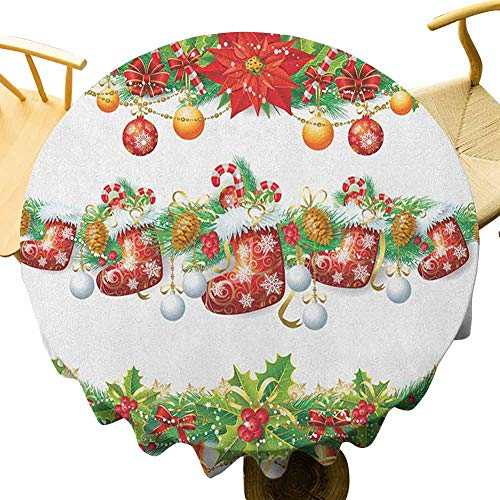 Christmas Tablecloth - 70 Inch Polyester Round Tablecloth Christmas Suitable for Cafeteria Traditional Garland Designs with Flowers Socks and Bells Mistletoe Candy Orange Red Green